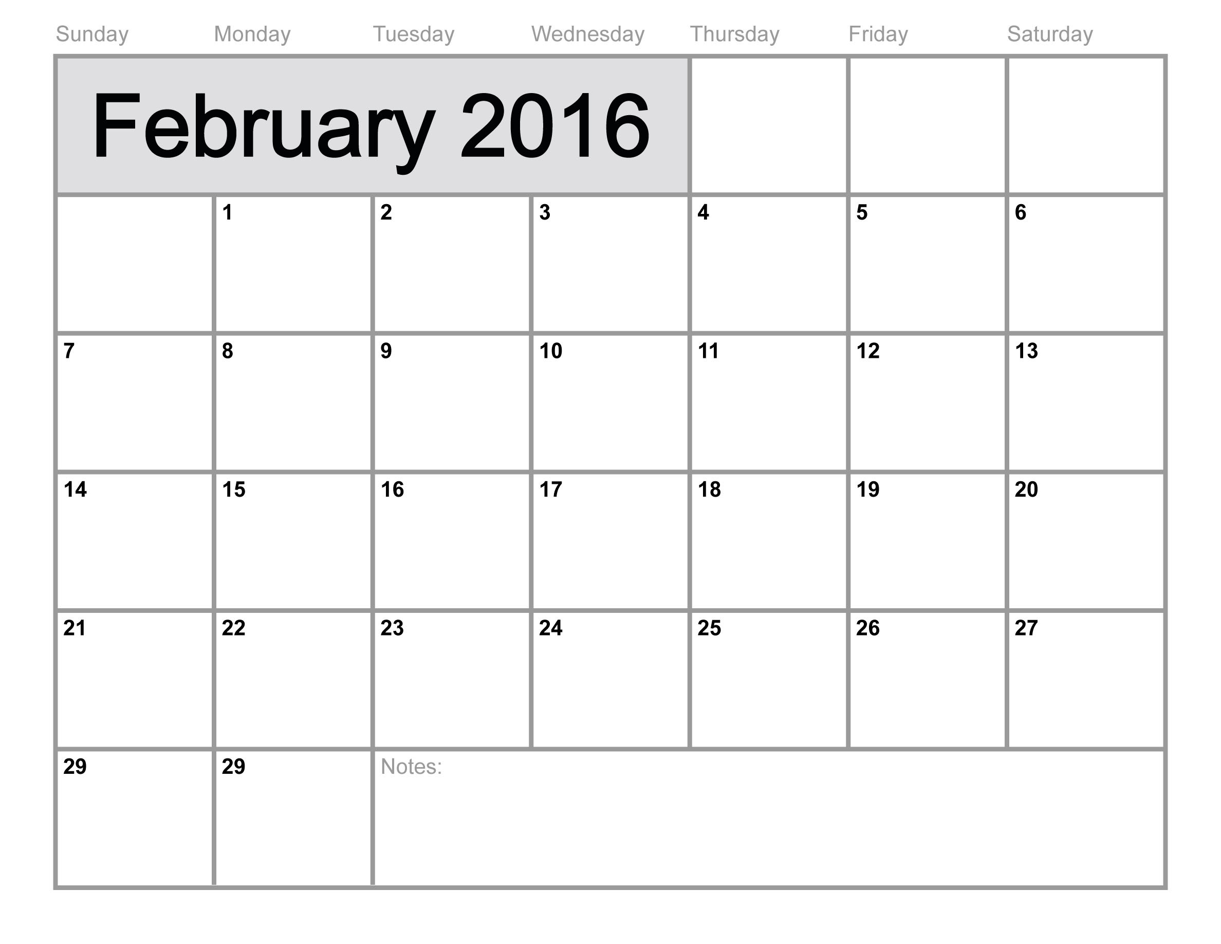2016 Monthly Calendar Free Printable Templates