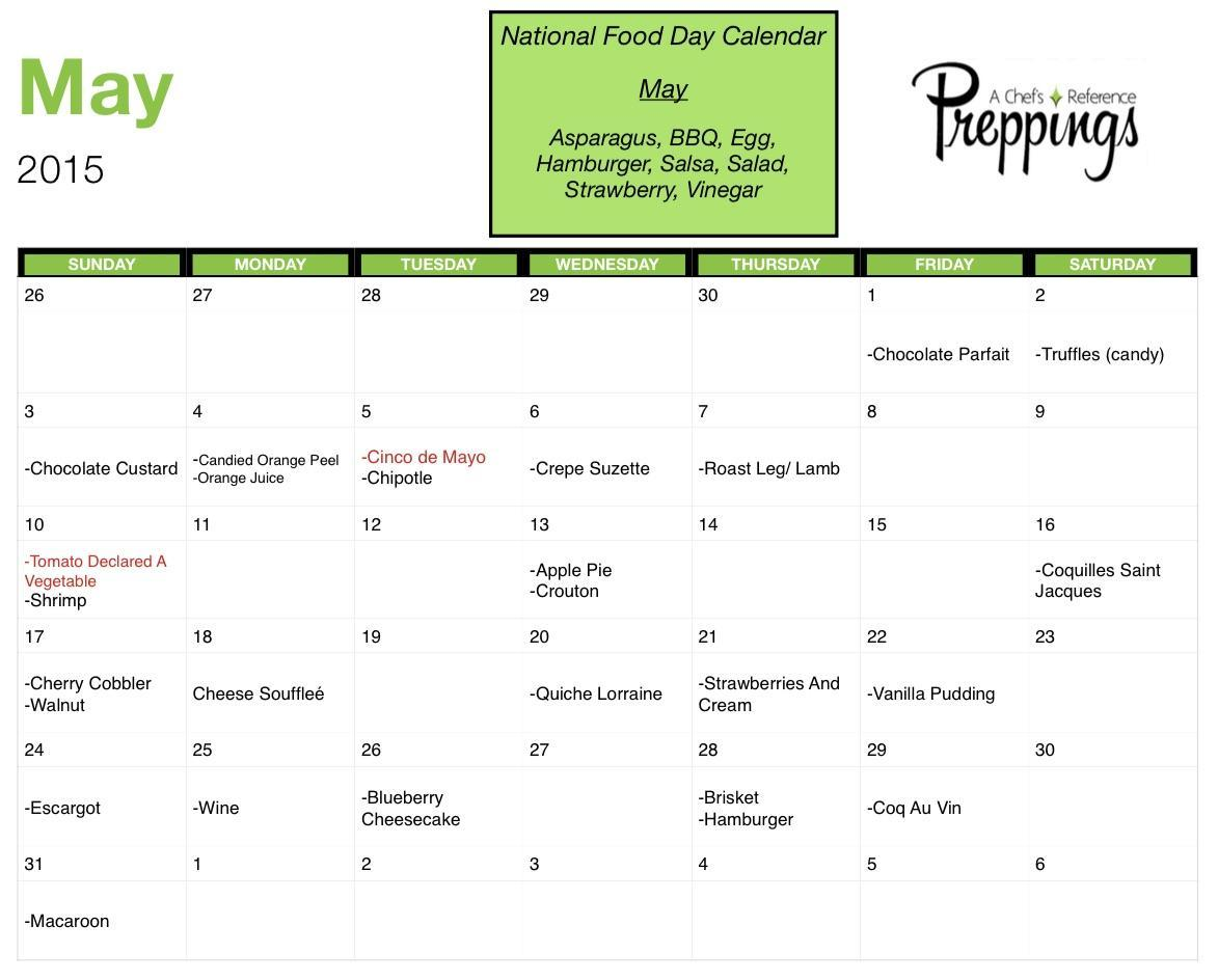 National Food Day Calendar 2017 Printable | 2017 Calendar Printable