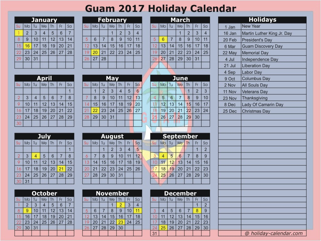 Guam 2017 / 2018 Holiday Calendar