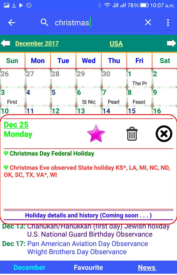 Holiday Calendar Android Apps on Google Play