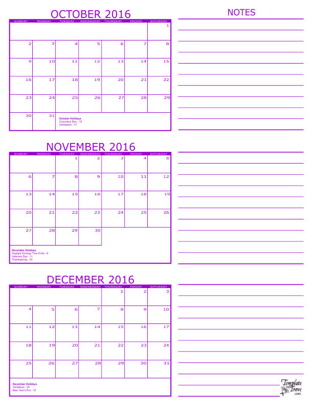 Year Calendar 2016 Excel : Oct nov calendar template