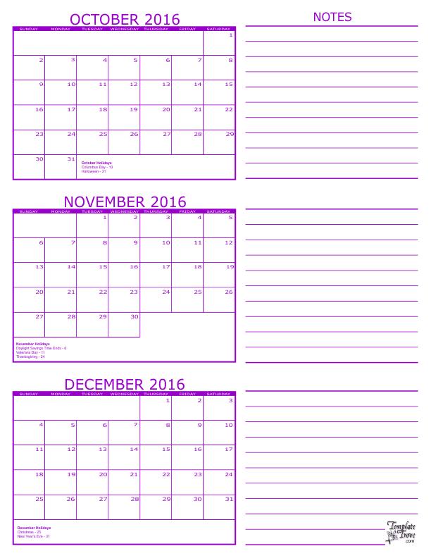 Oct Nov Calendar 2016 | Calendar Template 2019