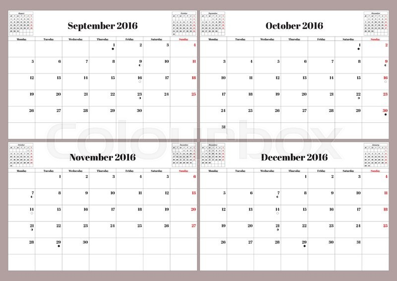 Vector English calendar 2016 year. September, October, November