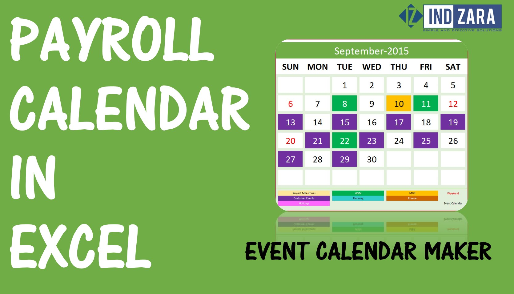Payroll Calendar using Event Calendar Maker Excel Template YouTube