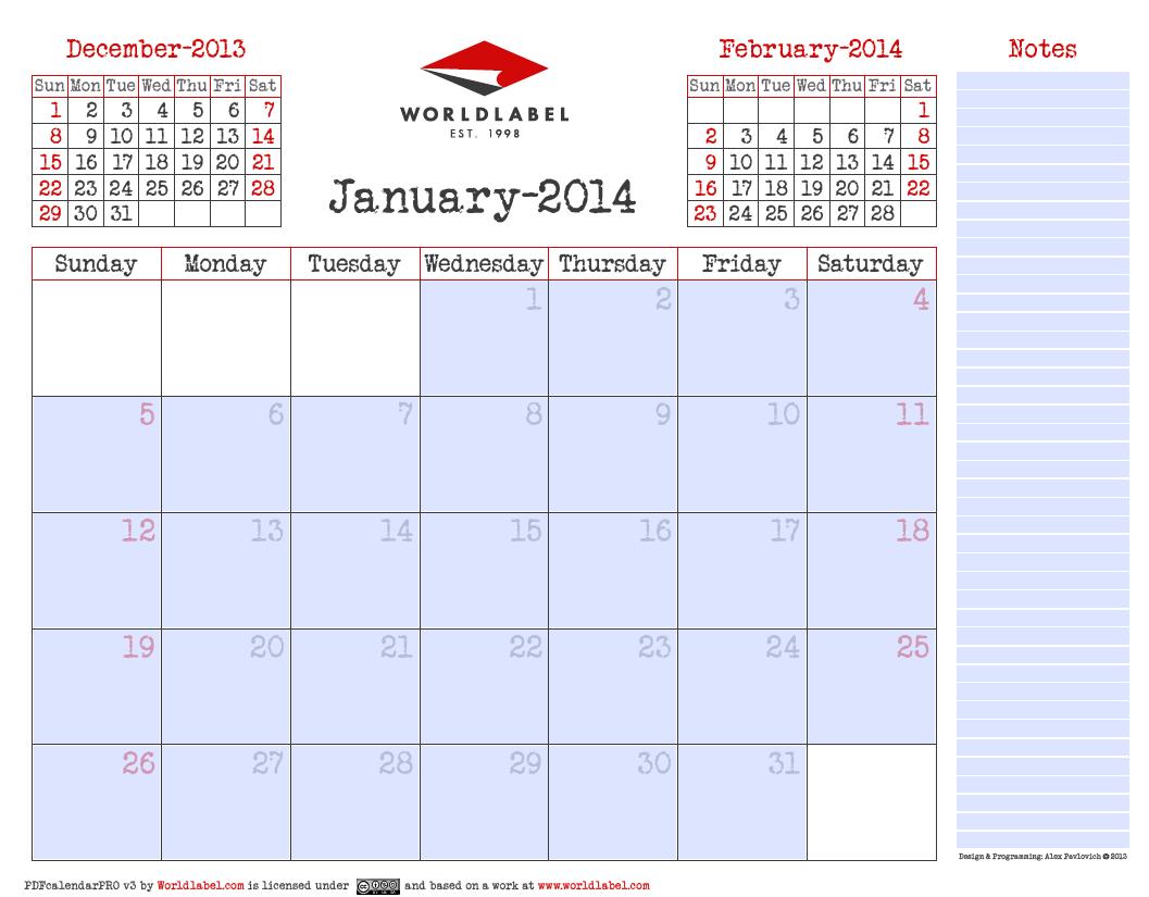 Blank 2014 editable fillable PDF Calendar Pro | Worldlabel Blog