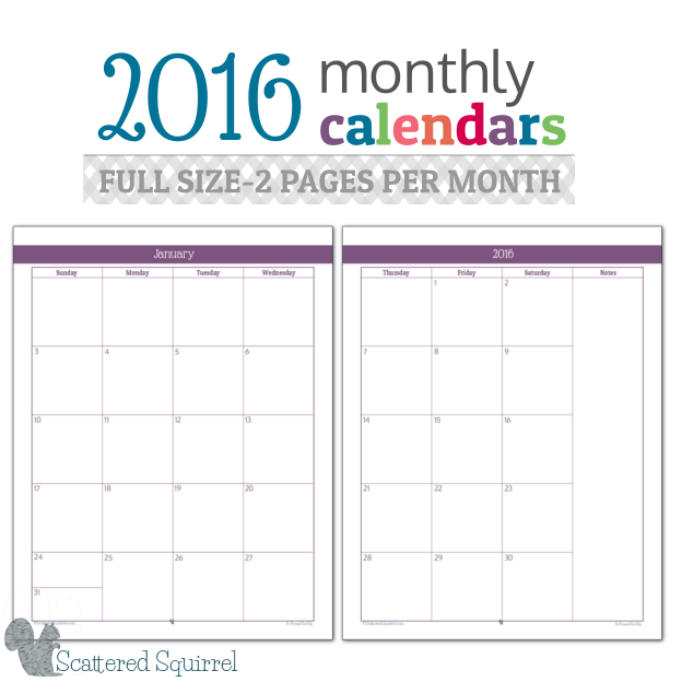 two page monthly calendar template 2018