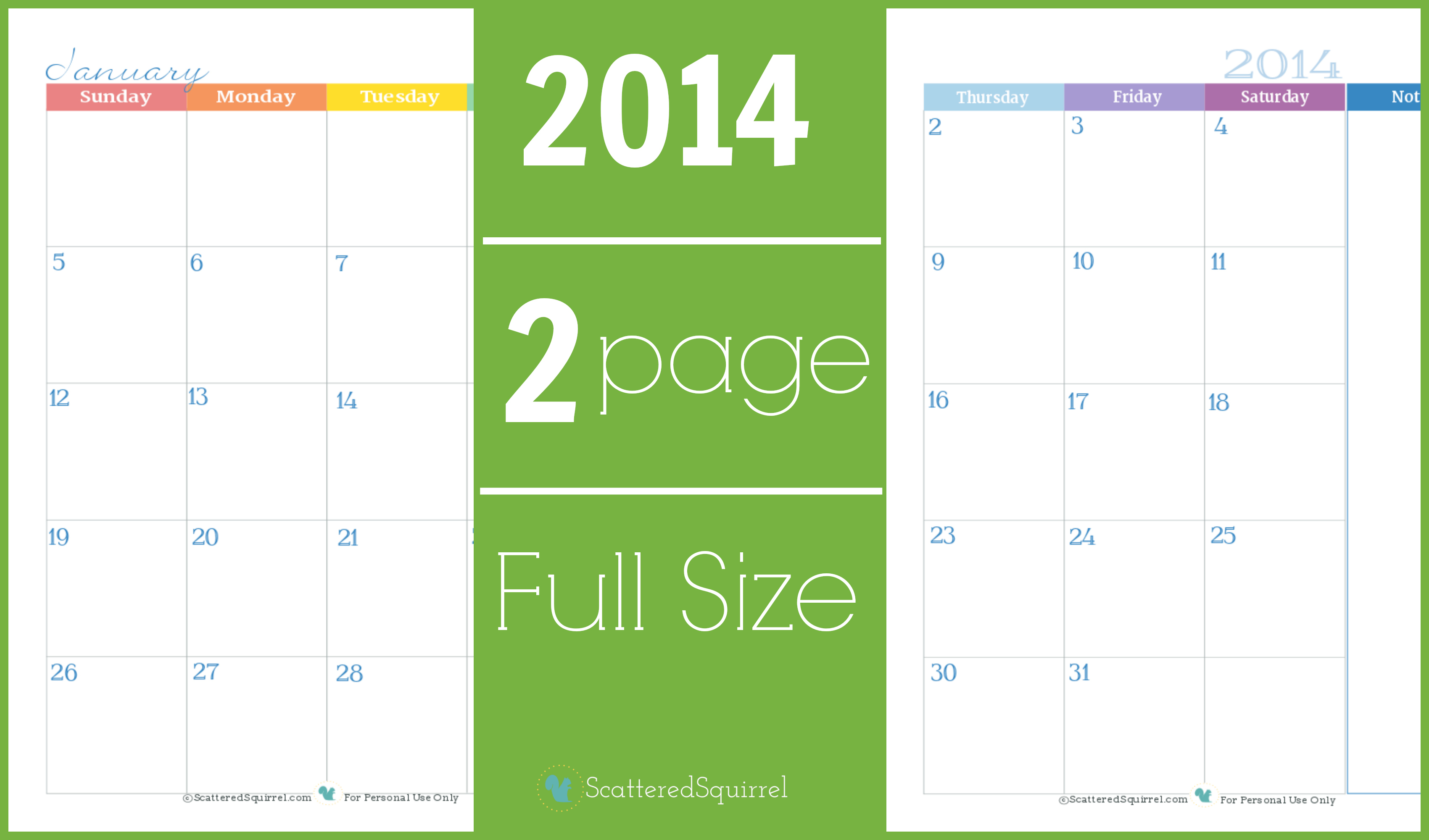 2014 Calendar: Two Page Monthly Scattered Squirrel