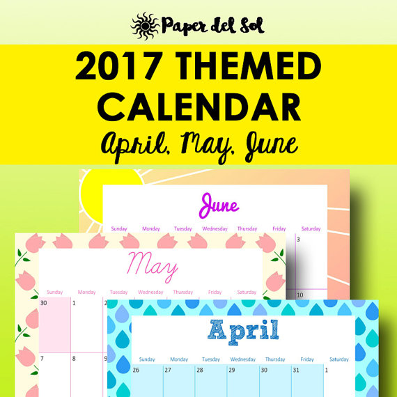 Printable Calendar 2017, Planner Printable Monthly Calendar This