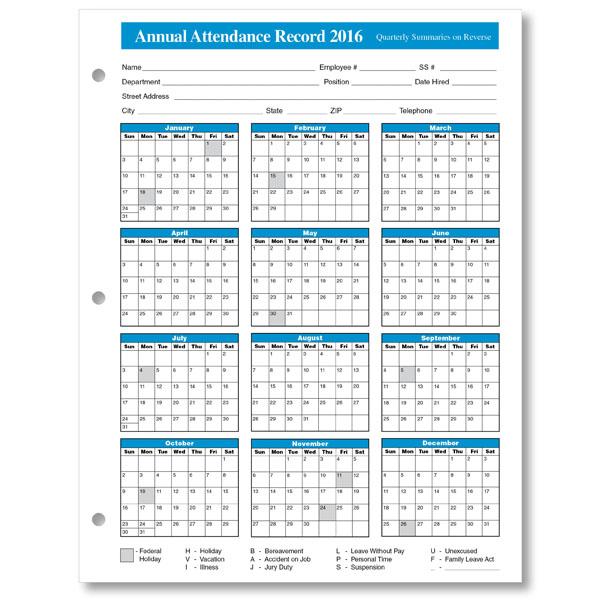 Employee Attendance Calendar | Tracker Templates 2016 | Printable