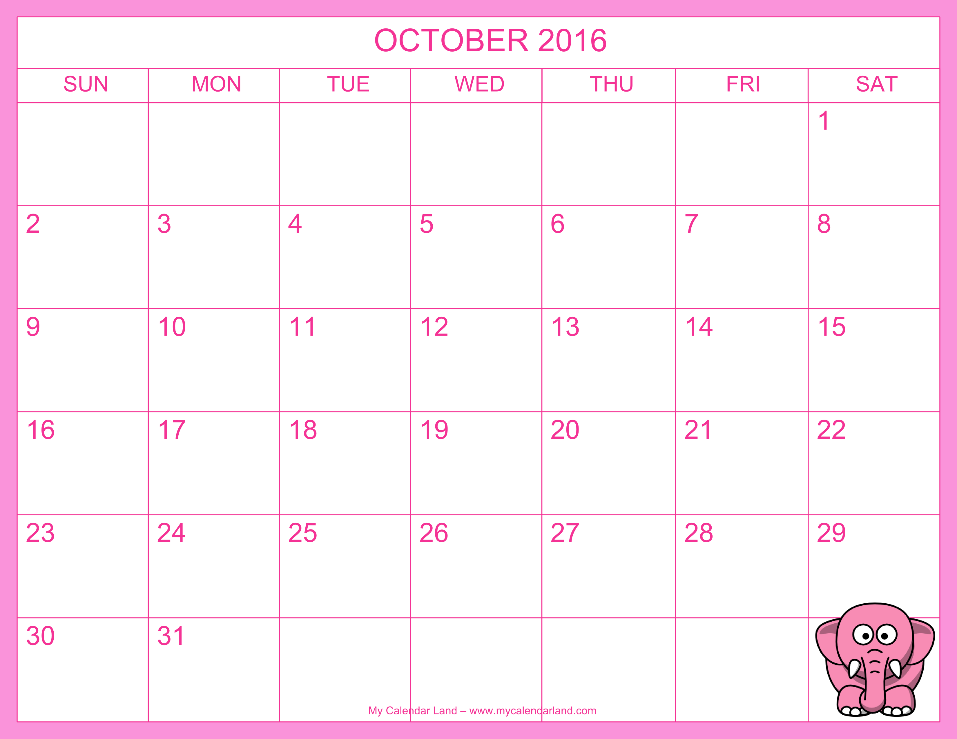 October 2016 Calendar My Calendar Land