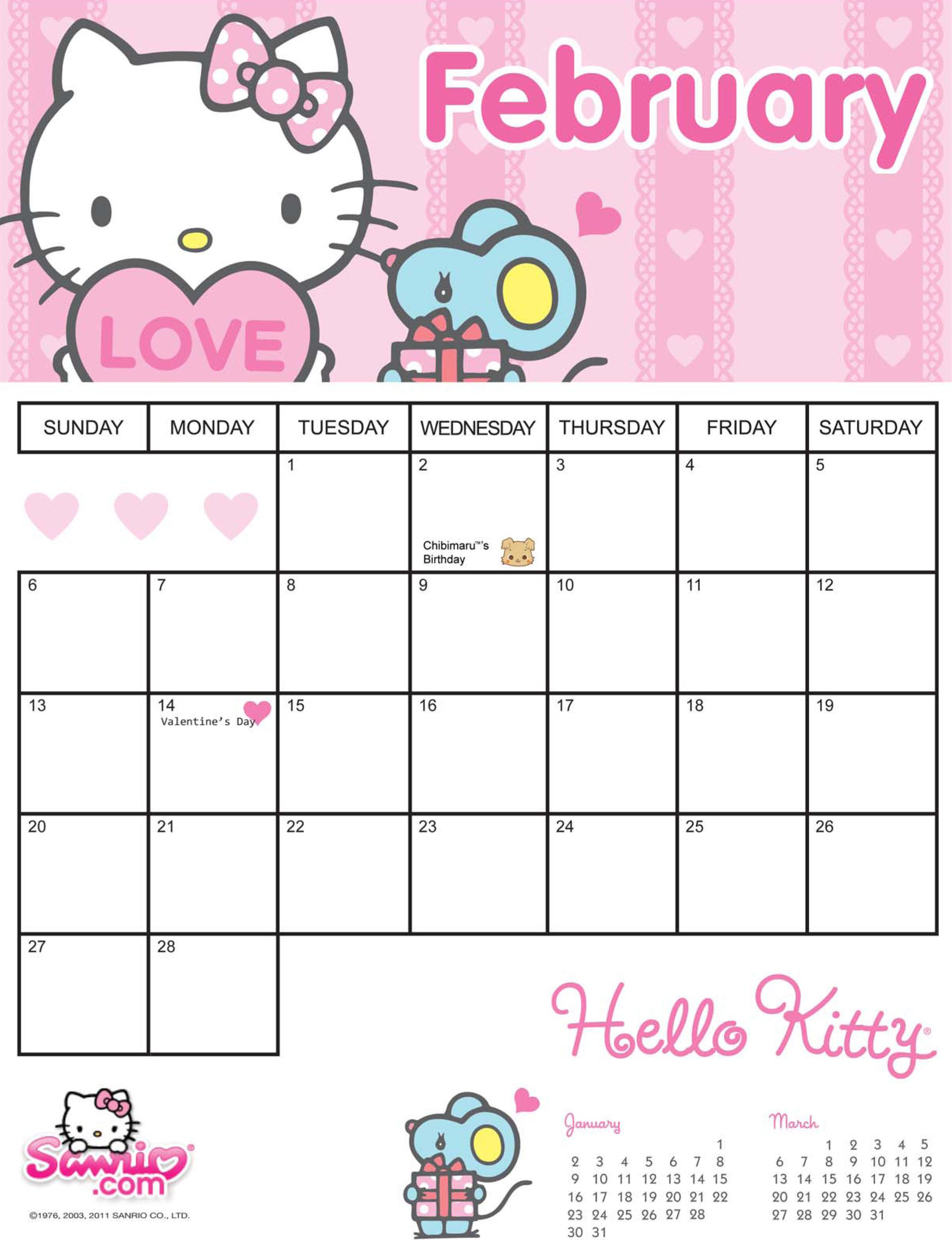Hello Kitty Monthly Calendar : Printable monthly hello kitty calendar