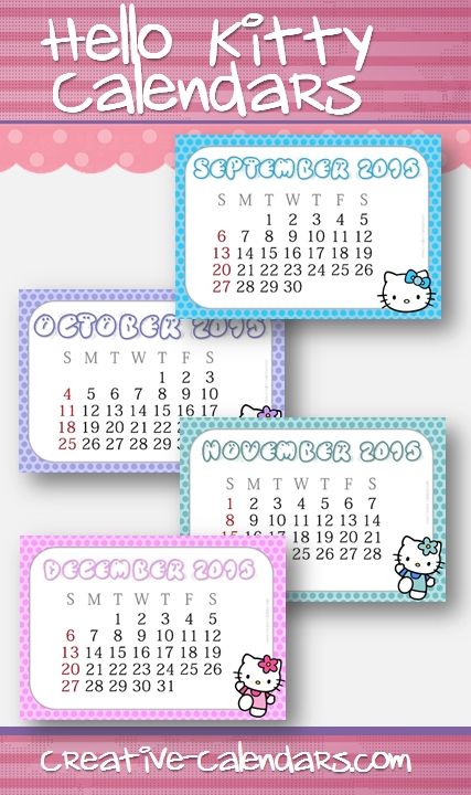 Hello Kitty Calendar, Hello Kitty, Calendars Free Printable