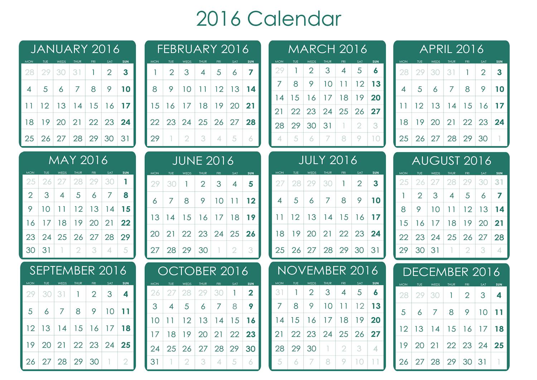 Printable 2016 Calendars | Activity Shelter