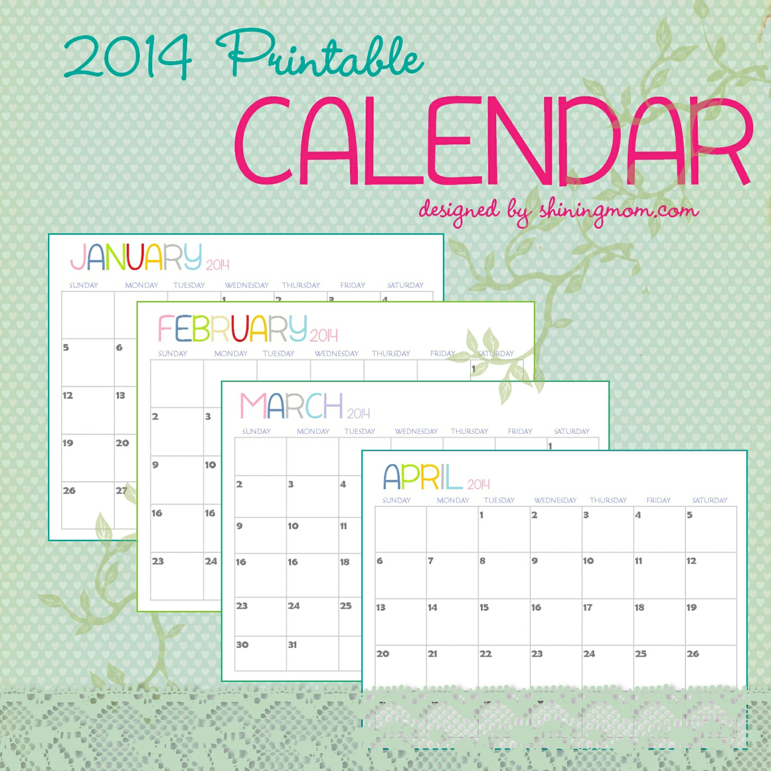 The Free Printable 2014 Calendar by Shining Mom.is here!