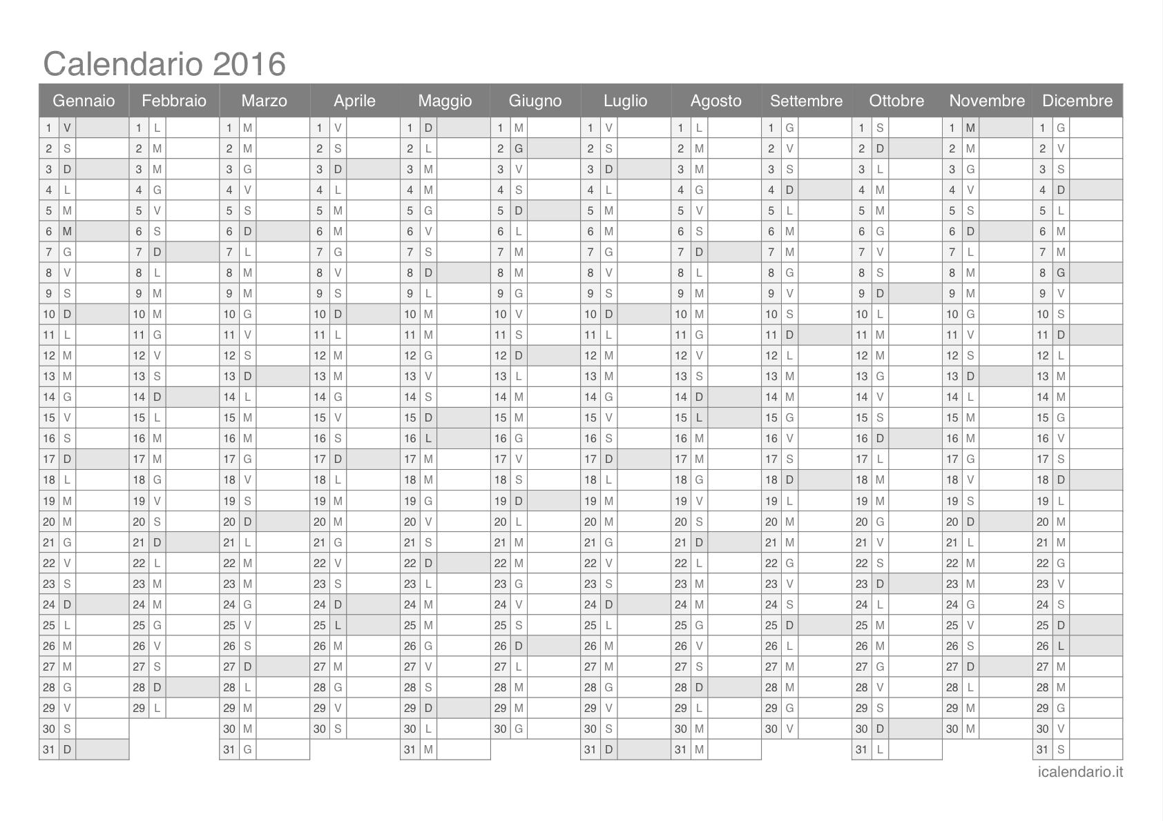 Calendario 2016 da stampare iCalendario.it