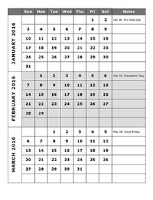 2016 Three Month Calendar Template 12L Free Printable Templates
