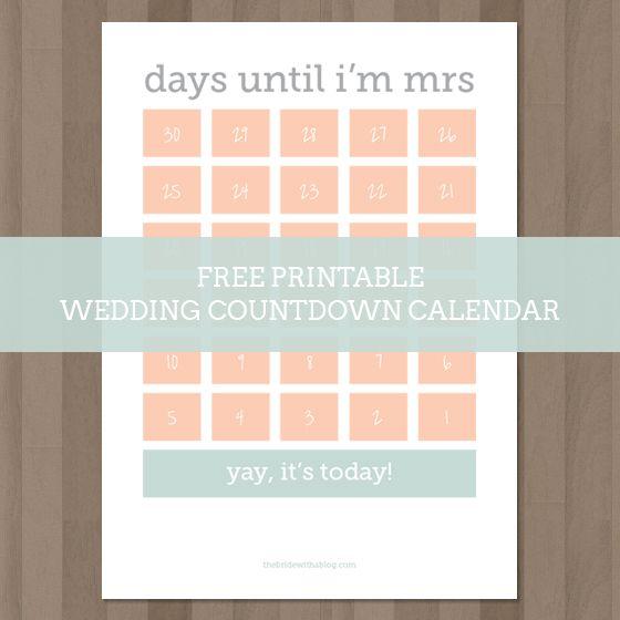 wedding countdown calendar printable calendar template 2018. Black Bedroom Furniture Sets. Home Design Ideas