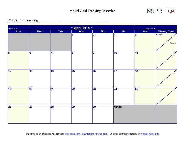 2015 Visual Goal Tracking Calendar