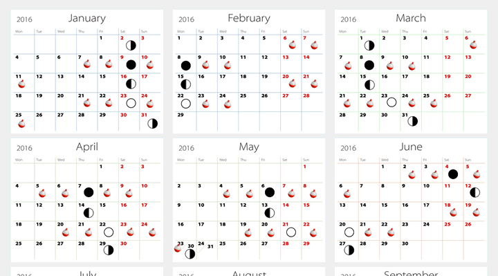 April Calendar In Excel : Moon phase calendar for fishing template