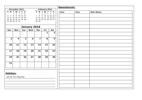 Blank Calendar 2016