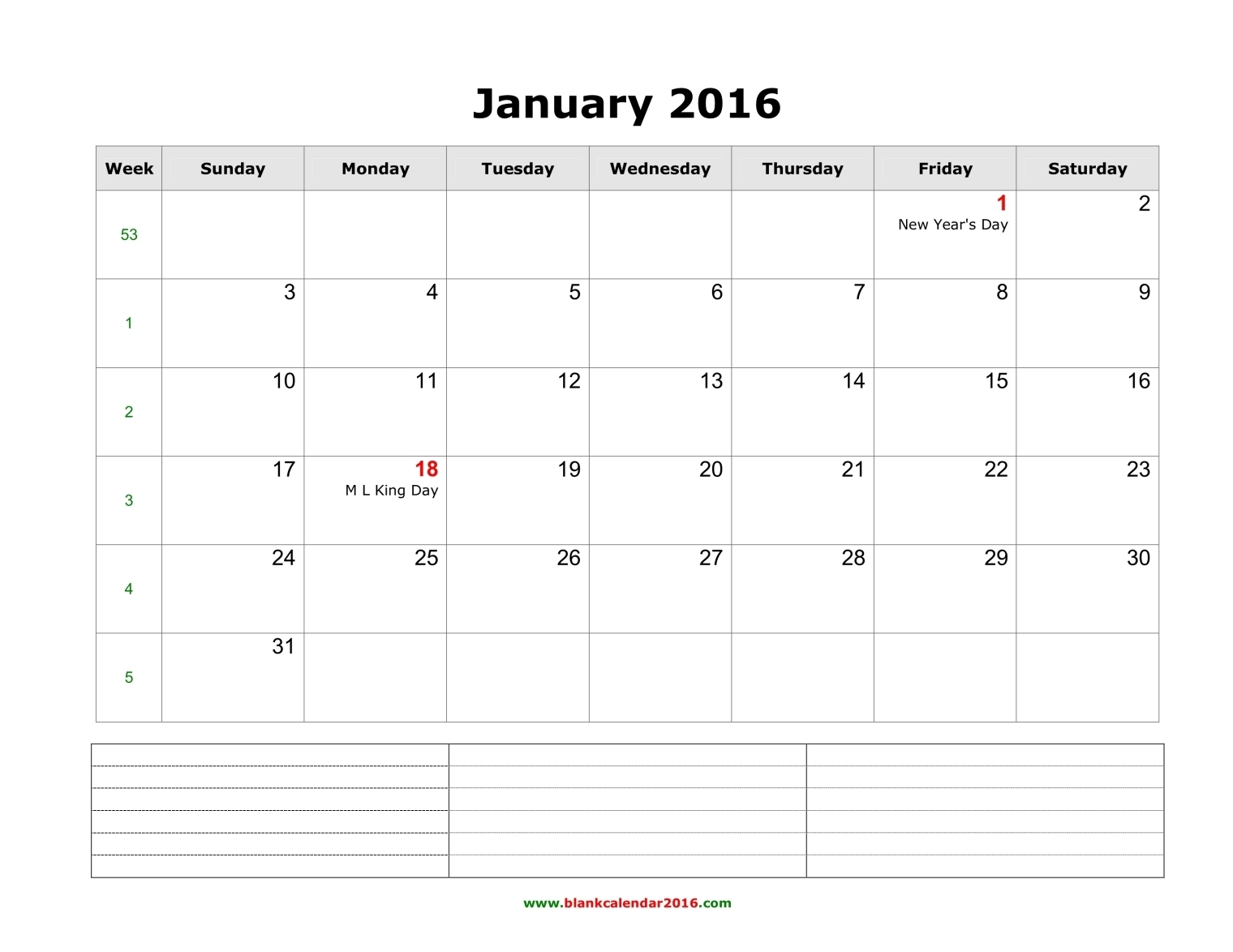 2016 Printable Calendar By Month With Notes