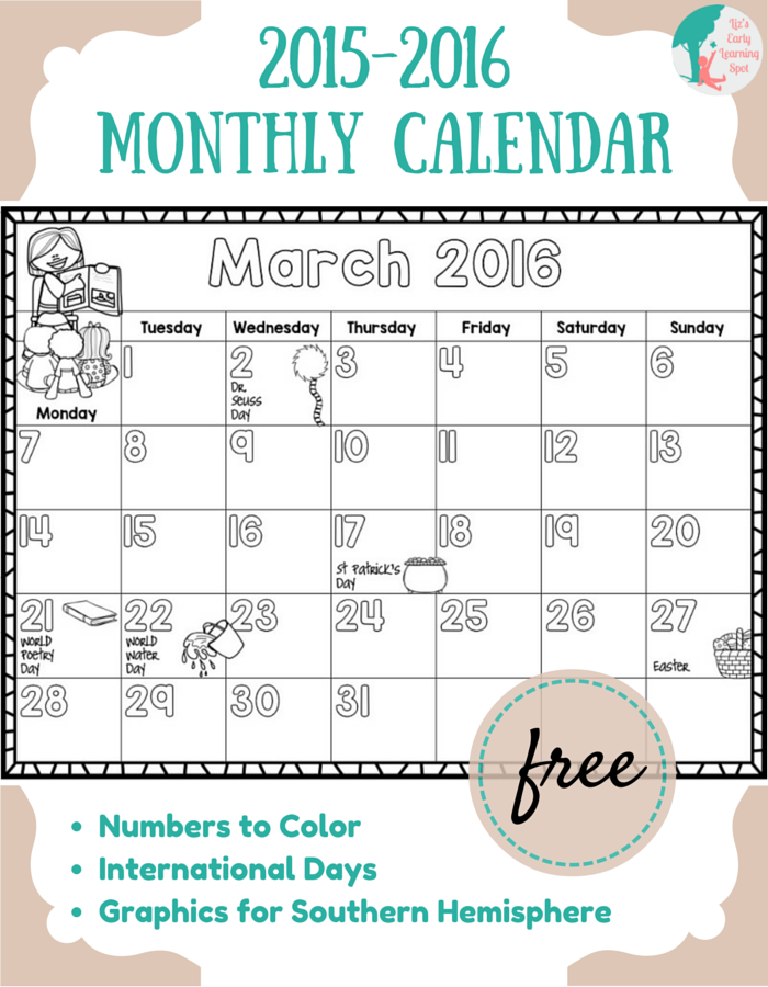 FREE 2015 2016 Monthly Calendar for Kids Liz's Early Learning Spot