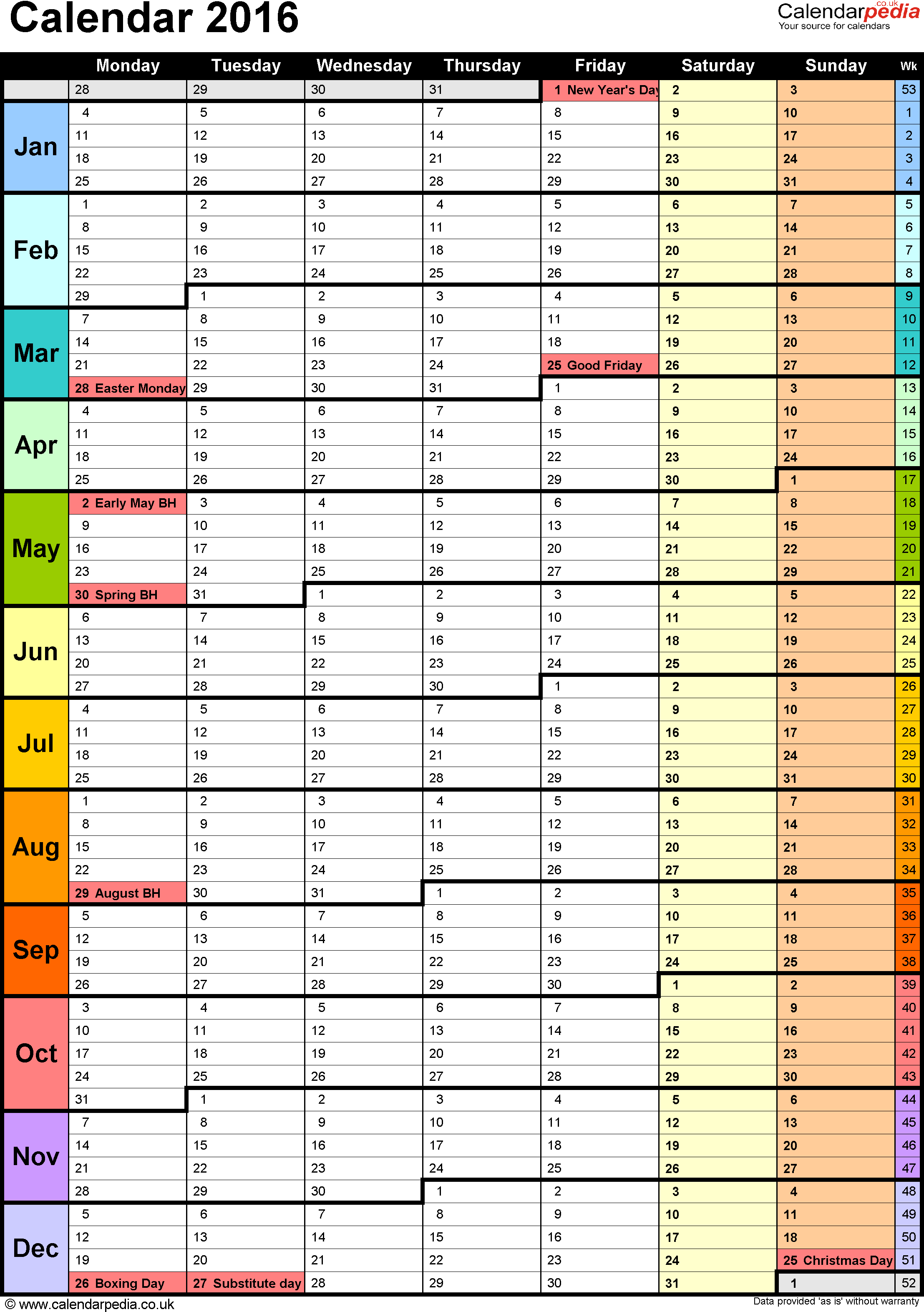 Excel Calendar 2016 (UK): 16 printable templates (xls/xlsx, free)