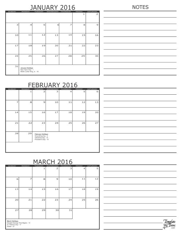 3 Month Calendar 2016