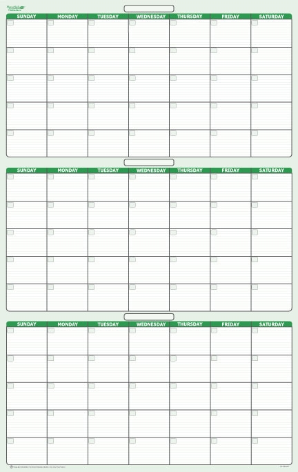 Day 3 month Dry Erasable Wall Calendar 24