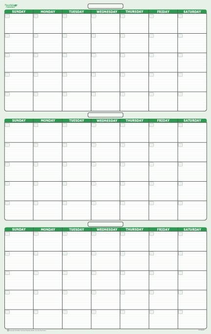 Day 3 month Dry Erasable Wall Calendar 24