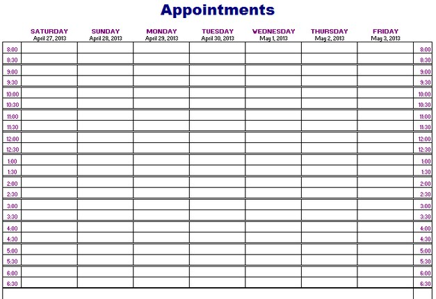 13 Best Photos of Printable Daily Appointment Calendar Template