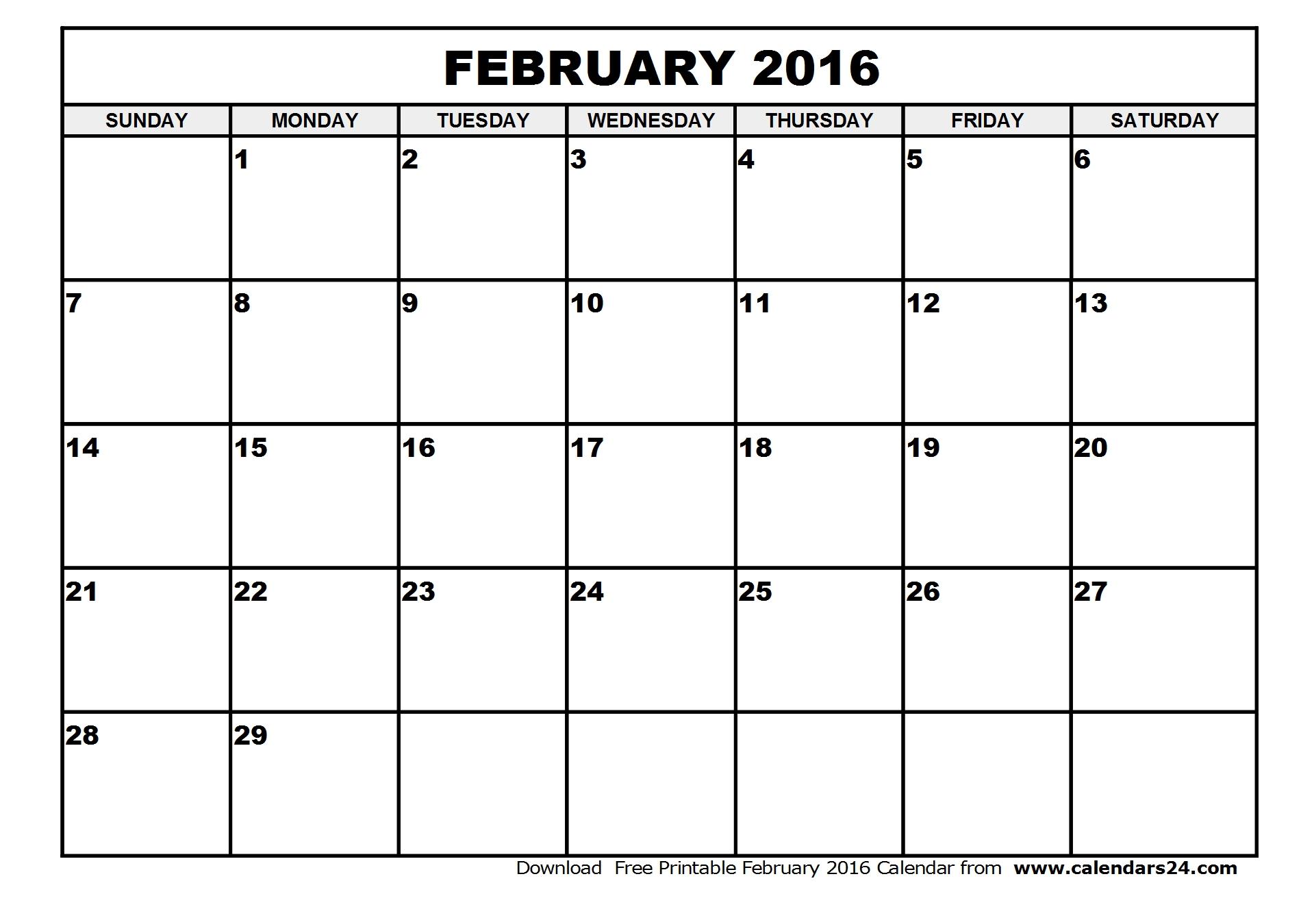 February 2016 Calendar & March 2016 Calendar