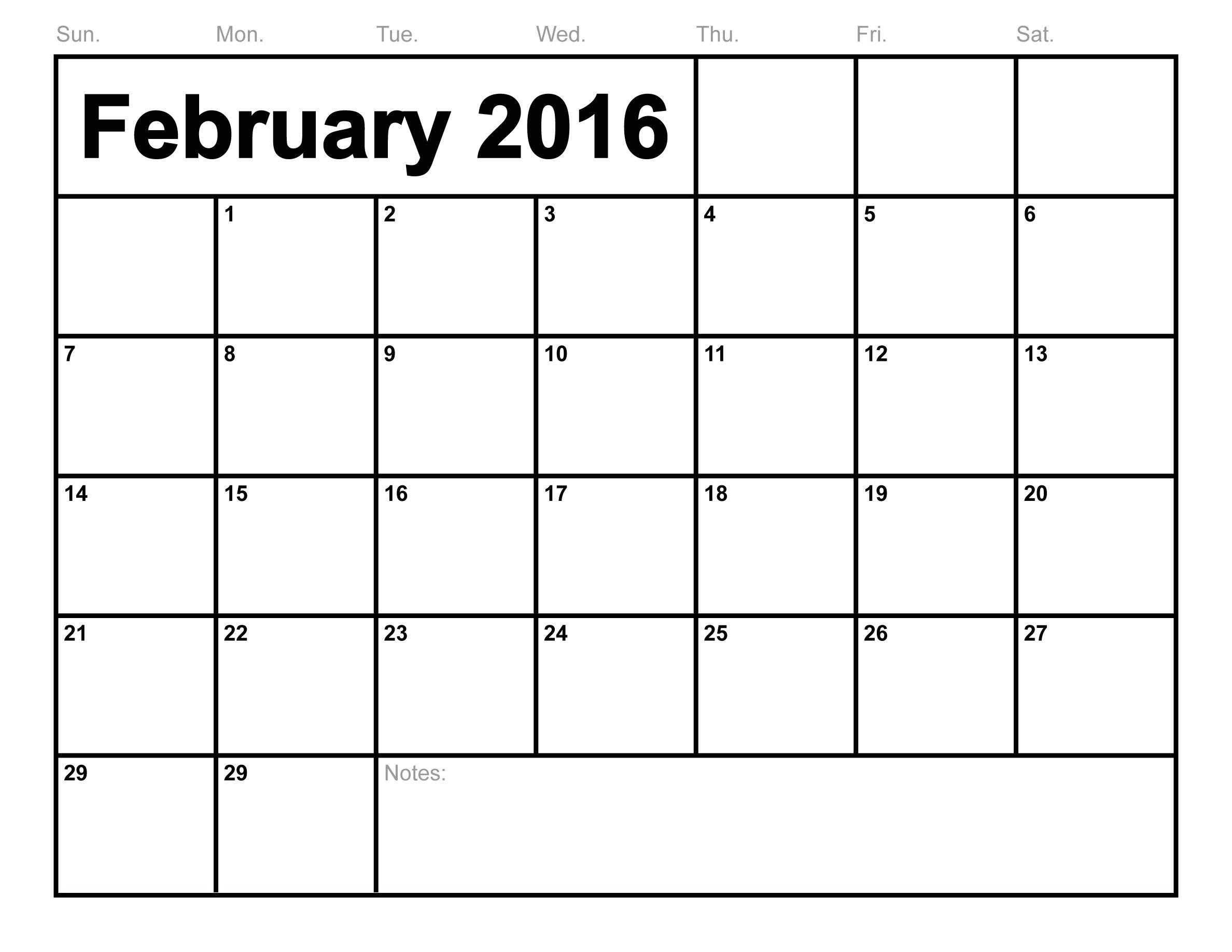 Calendar February 2016 Blank Templates Templates Free
