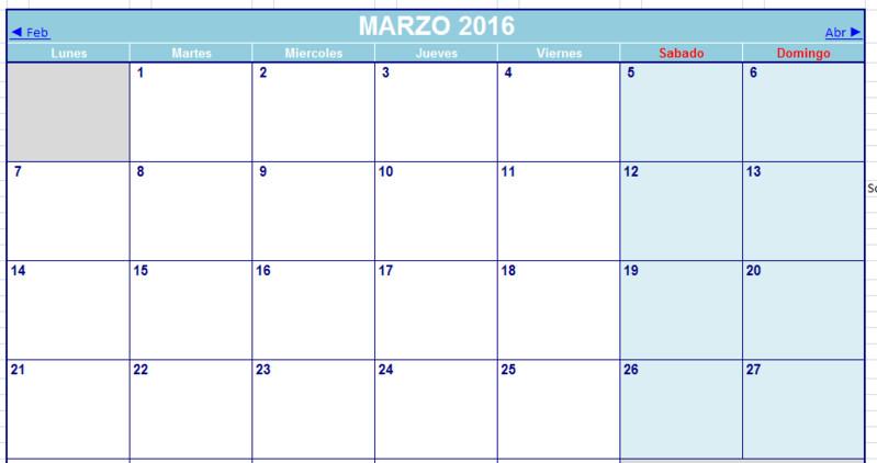 calendario excel 2016 descargar gratis