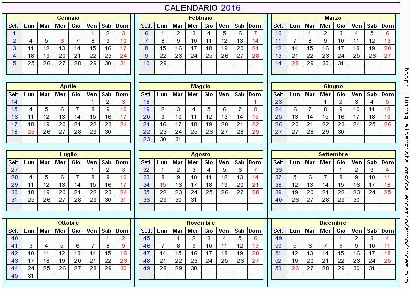 Calendario 2016 da stampare Con festività, santi e fasi lunari