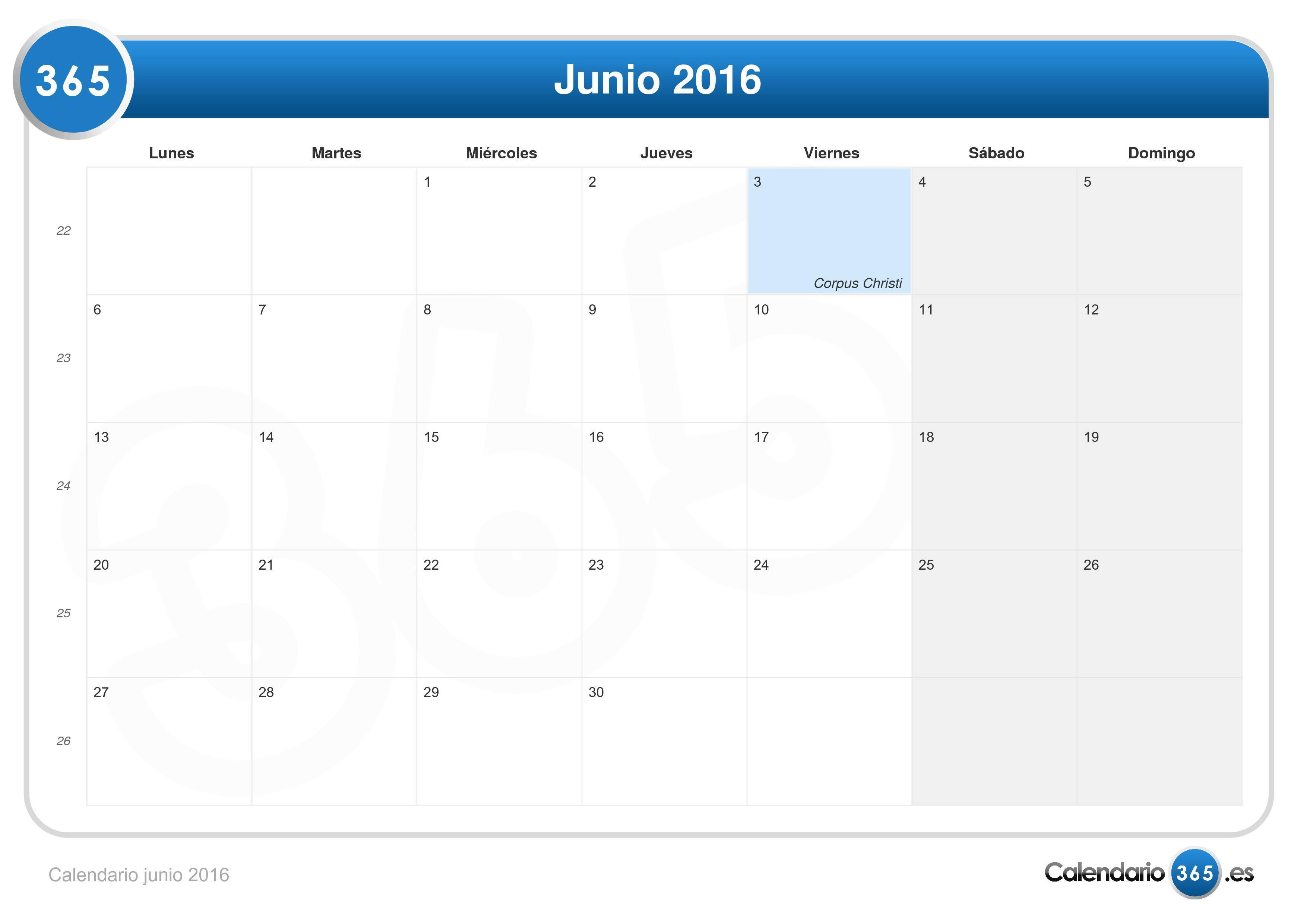 calendario junio 2016.