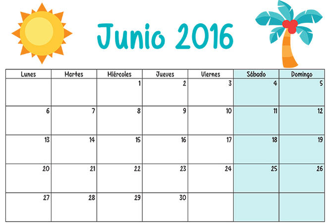 Imágenes de Calendarios mes de junio 2016 para descargar e