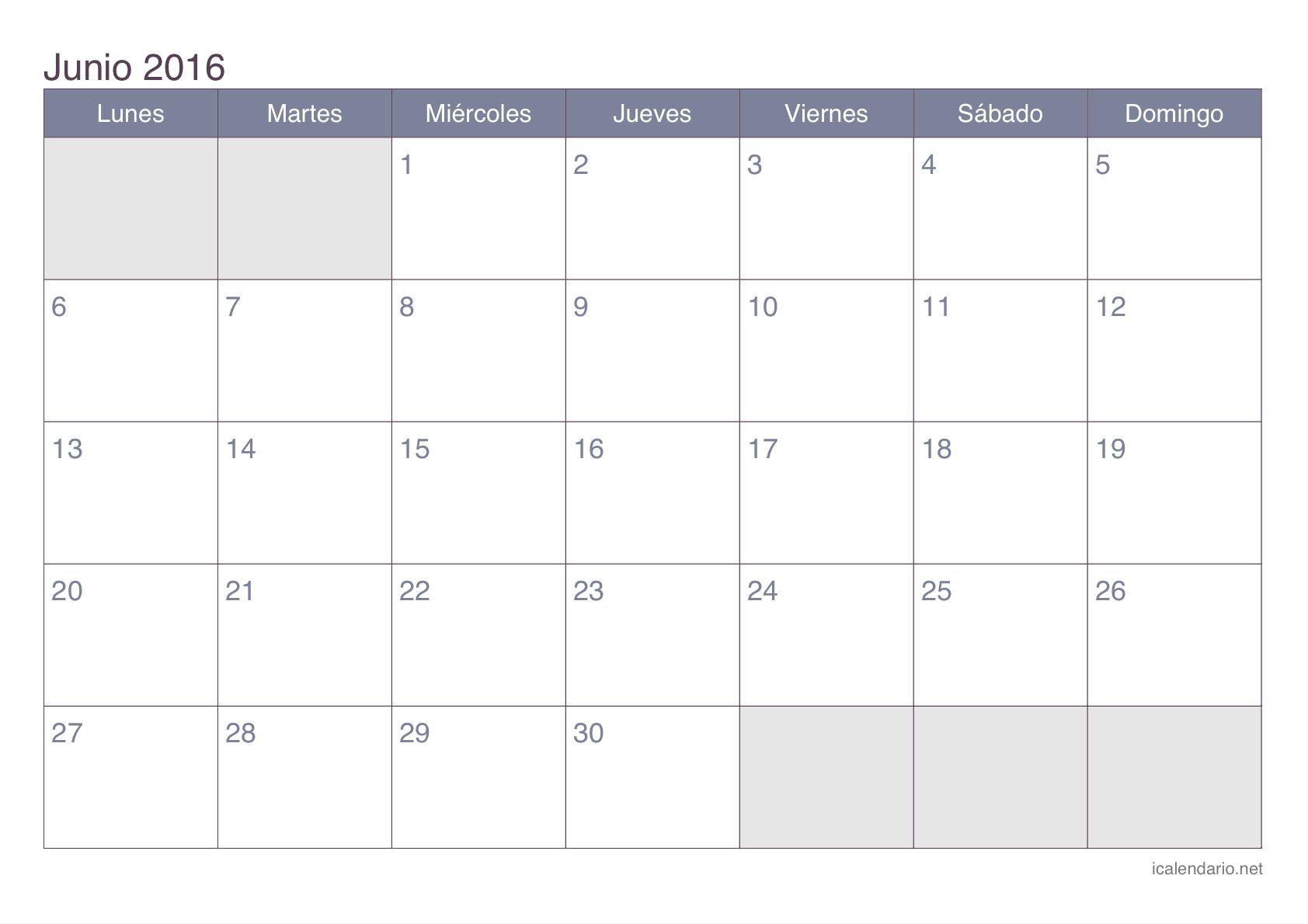 Calendario junio 2016 para imprimir iCalendario.net