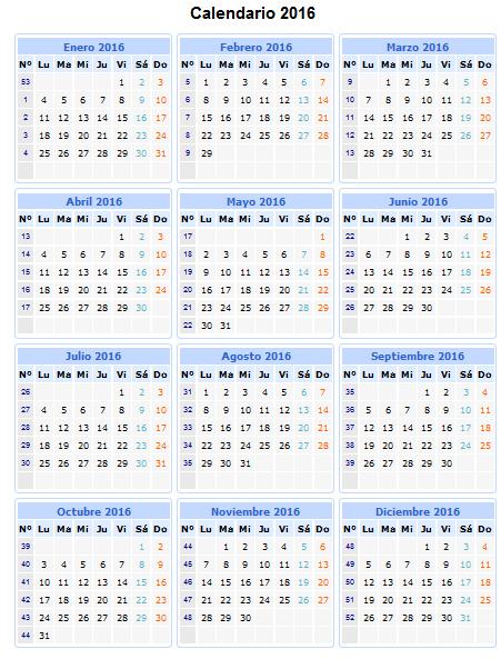 calendario por numero de semanas 2016