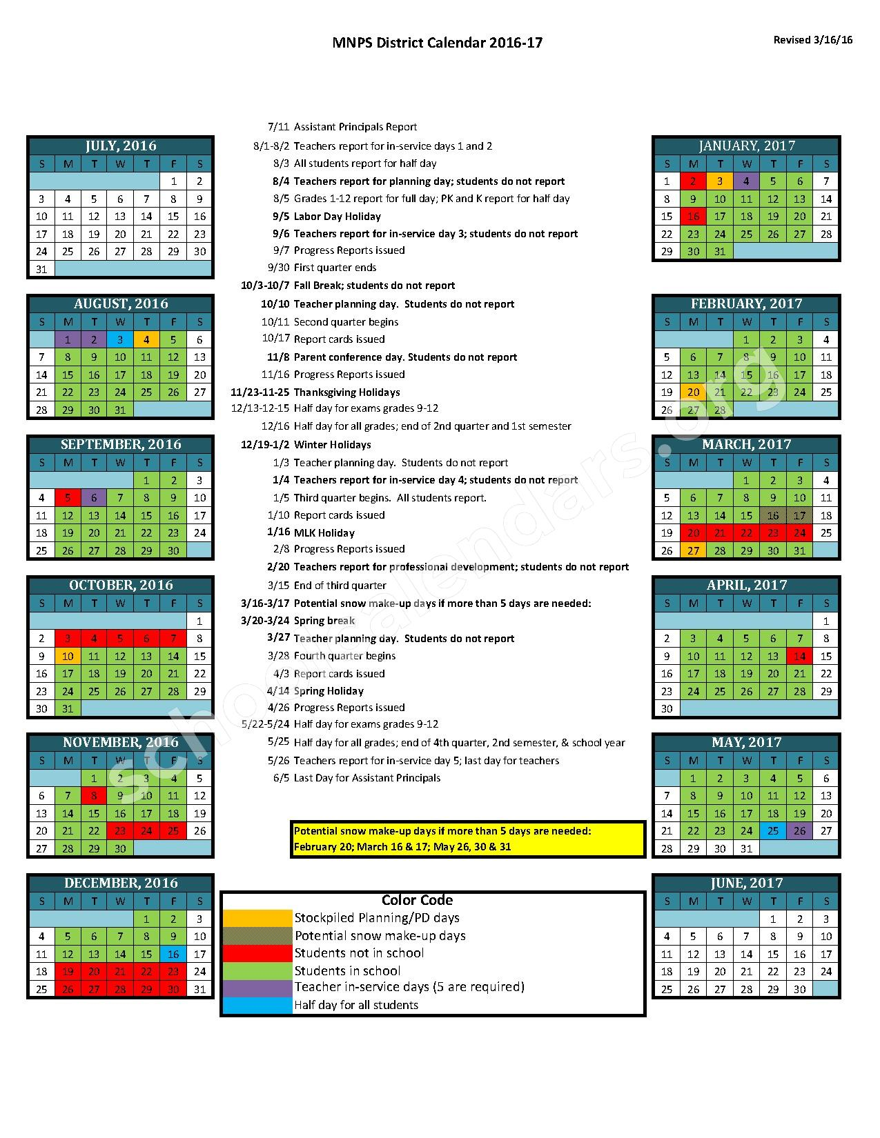 APPROVED: 2017 18 District Calendar — Metro Nashville Public Schools