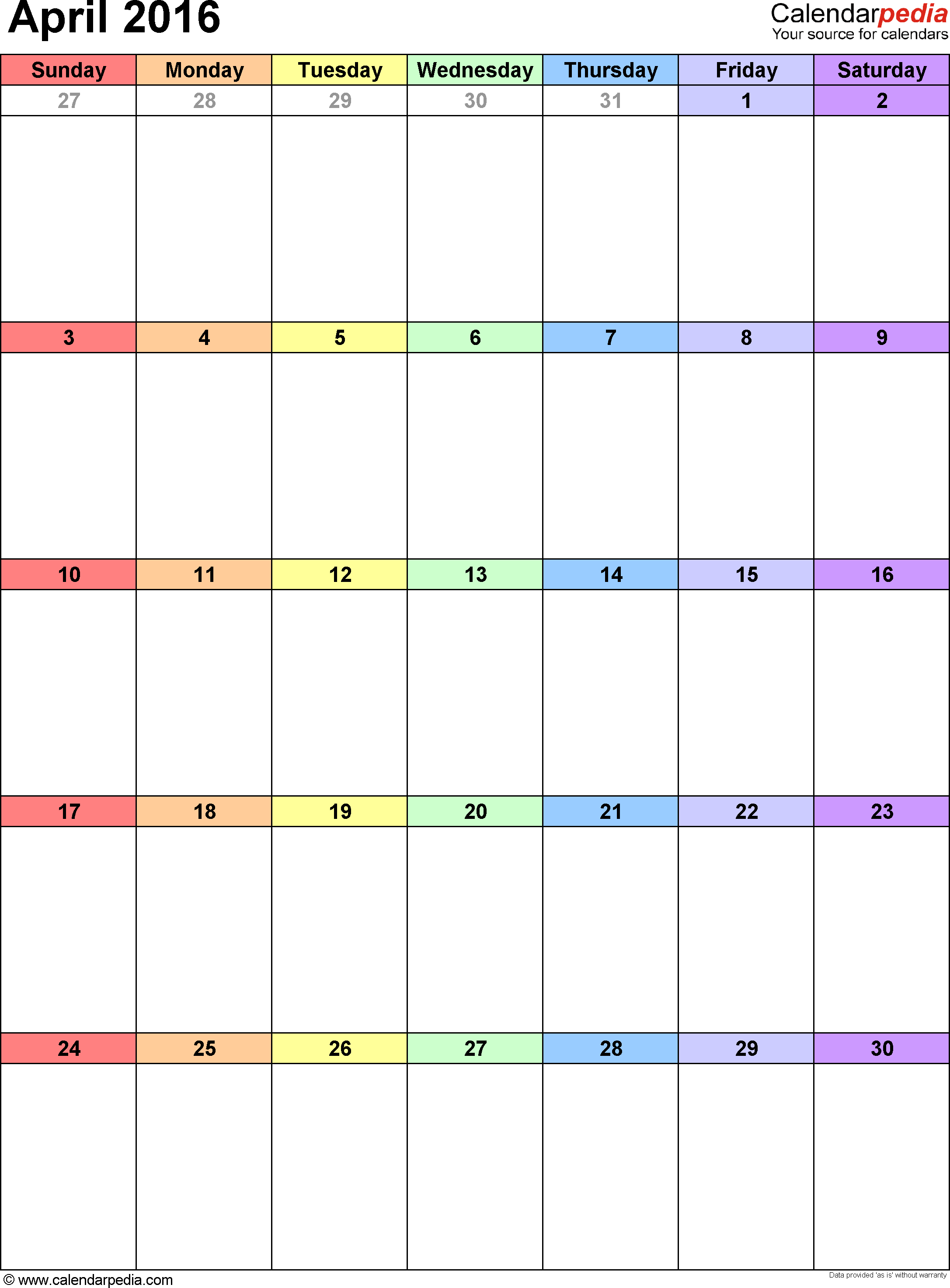 April 2016 Calendars for Word, Excel & PDF
