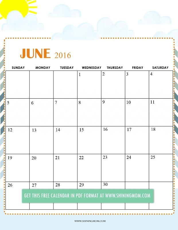 9 Best Photos of Free Cute Printable Calendar June 2016 Cute