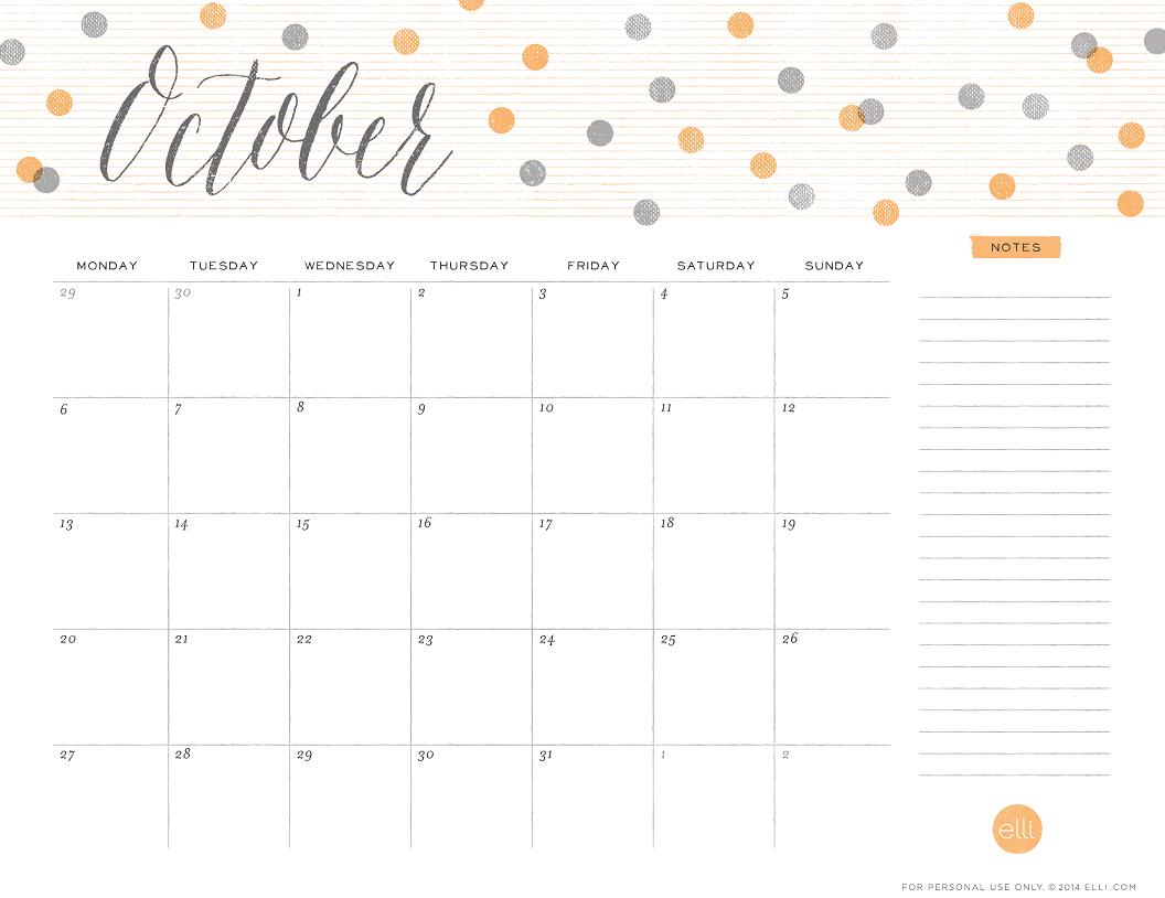 Cute Calendar October 2016 : Cute october calendar template