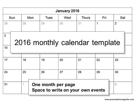 Photo calendar 2016 free printable Word templates