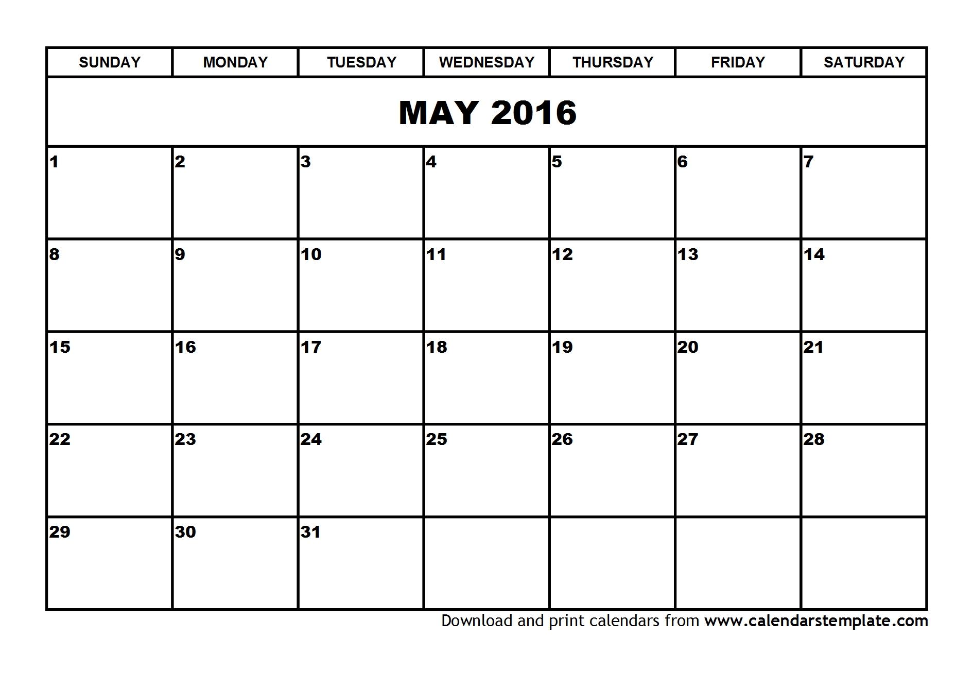 And June Calendar 2016
