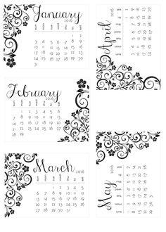 See 4 New Free Printable 2016 Vintage Calendars, Plus Color Me