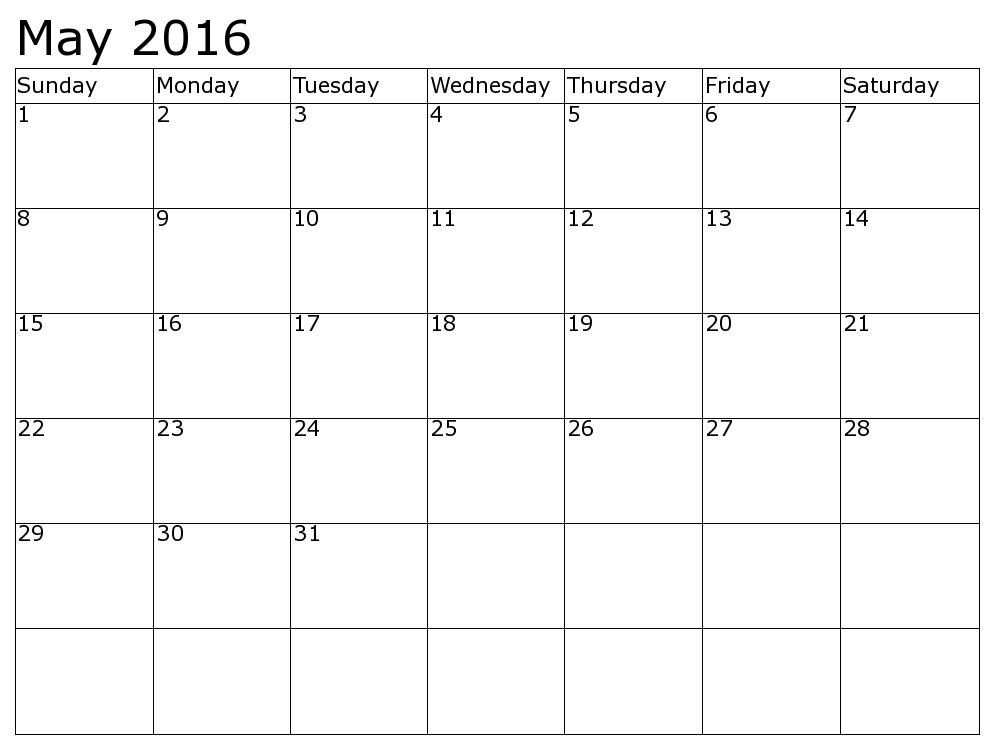 Calendar May June 2016