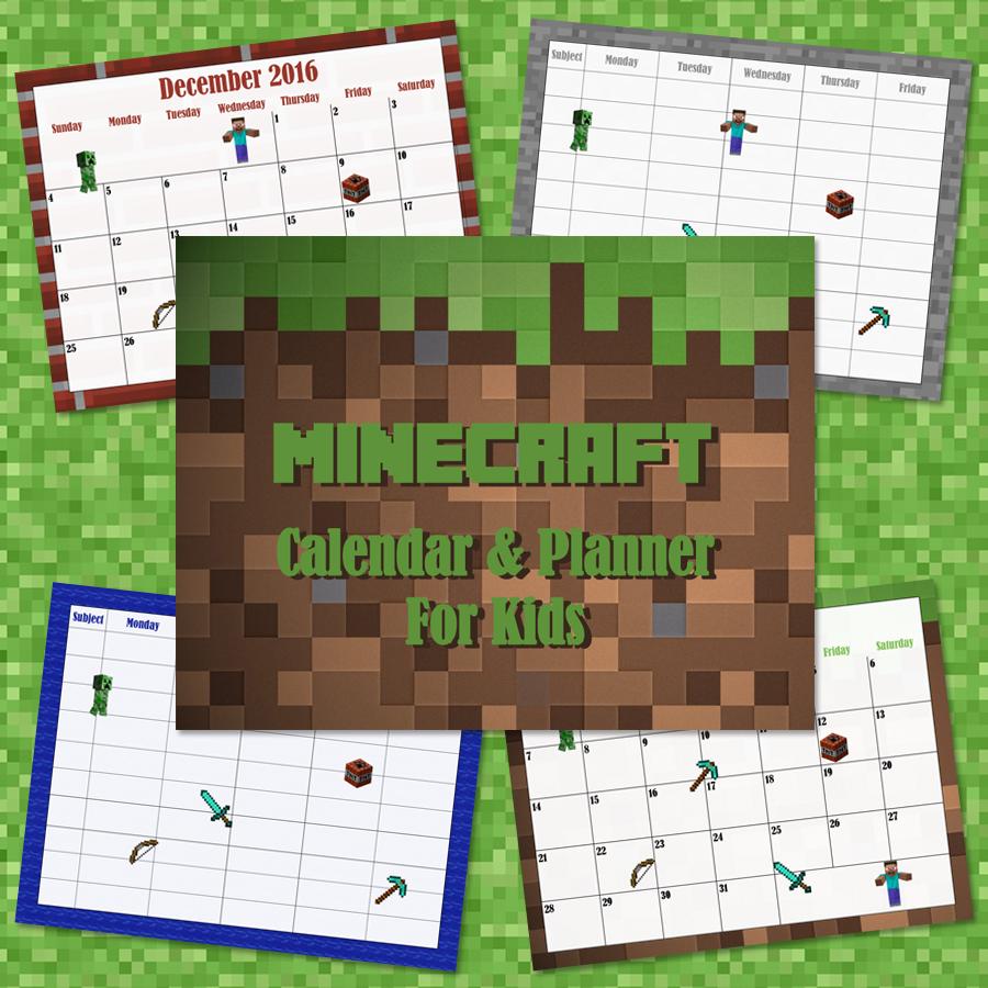Printable Minecraft Creeper 2016 Calendar Ottawa Mommy Club
