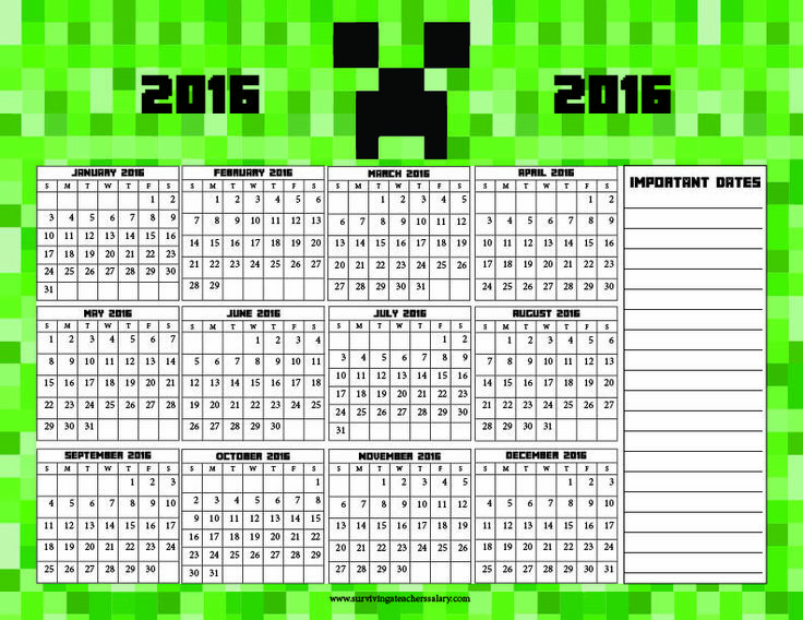 Free Doctor Who and Minecraft Calendar / Planner Pages