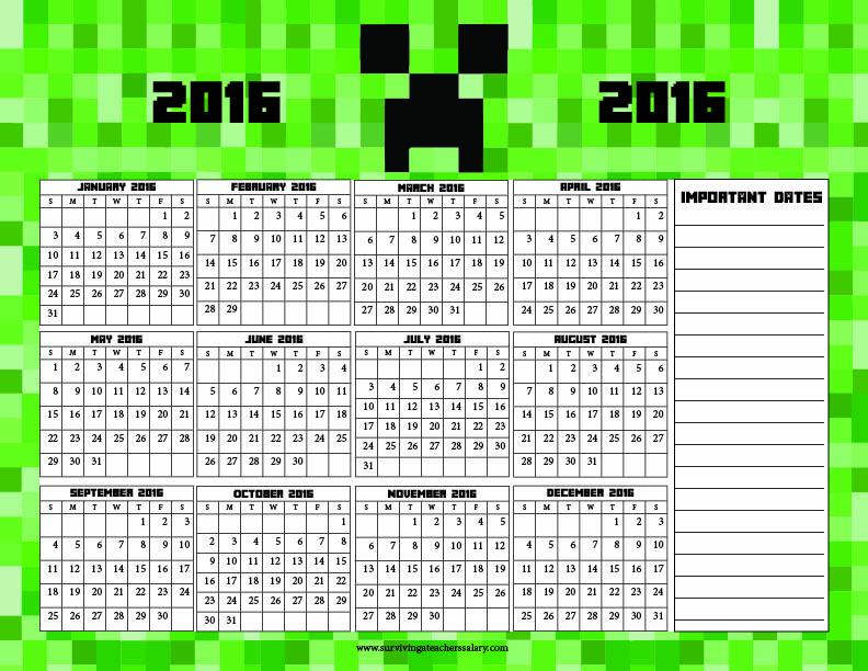 Minecraft Printable Calendar 2016